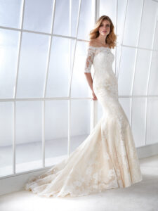 The White One Pronovias style 'Famosa' size 18 detachable jacket, Champagne/Ivory £699